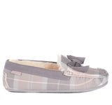Barbour Sadie Moccasin Slippers - Pink Grey Tartan - North Shore Saddlery