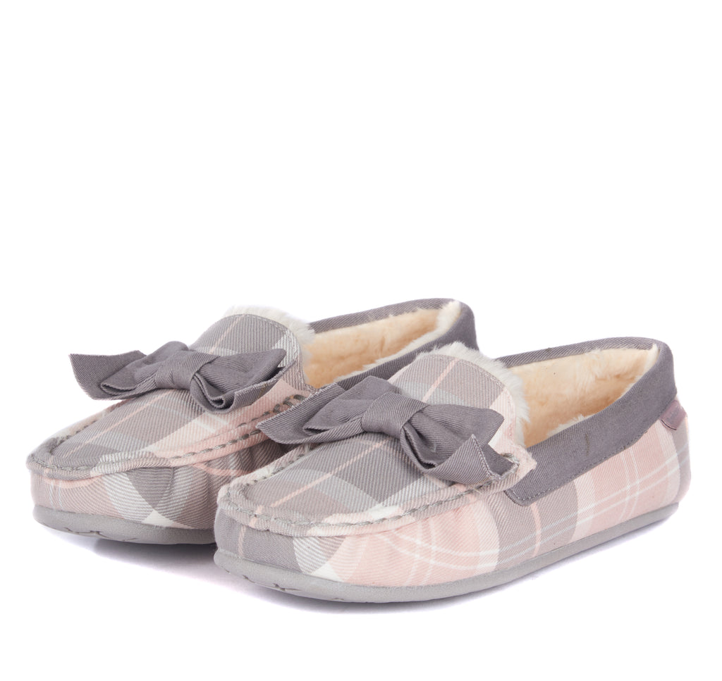 Barbour Sadie Moccasin Slippers - Pink Grey Tartan