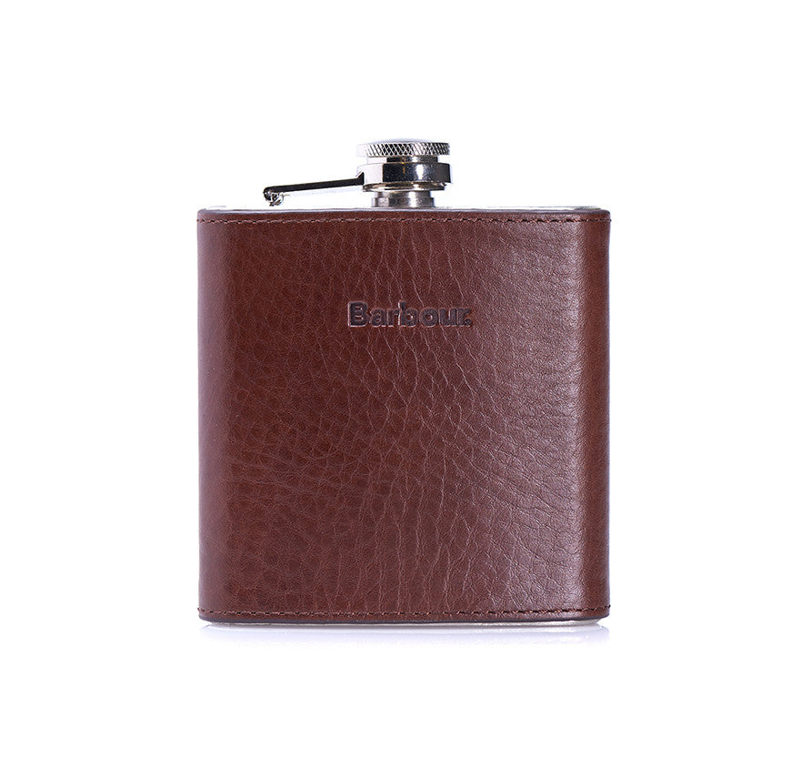 Barbour Hip Flask in Brown Leather - North Shore Saddlery