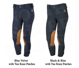 Tailored Sportsman Low Rise Front Zip Breech with Tan Knee Patches