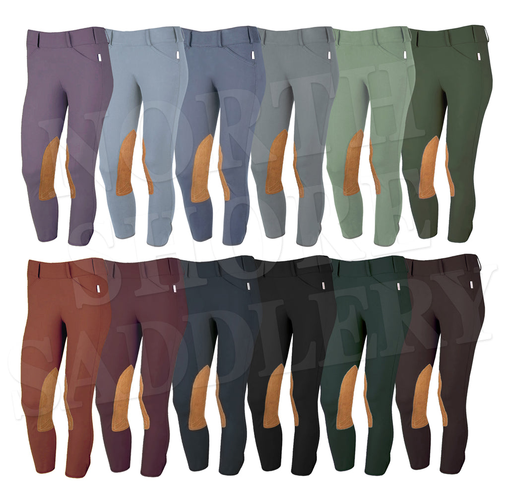 Tailored Sportsman Low Rise Side Zip Breech with Tan Knee Patches