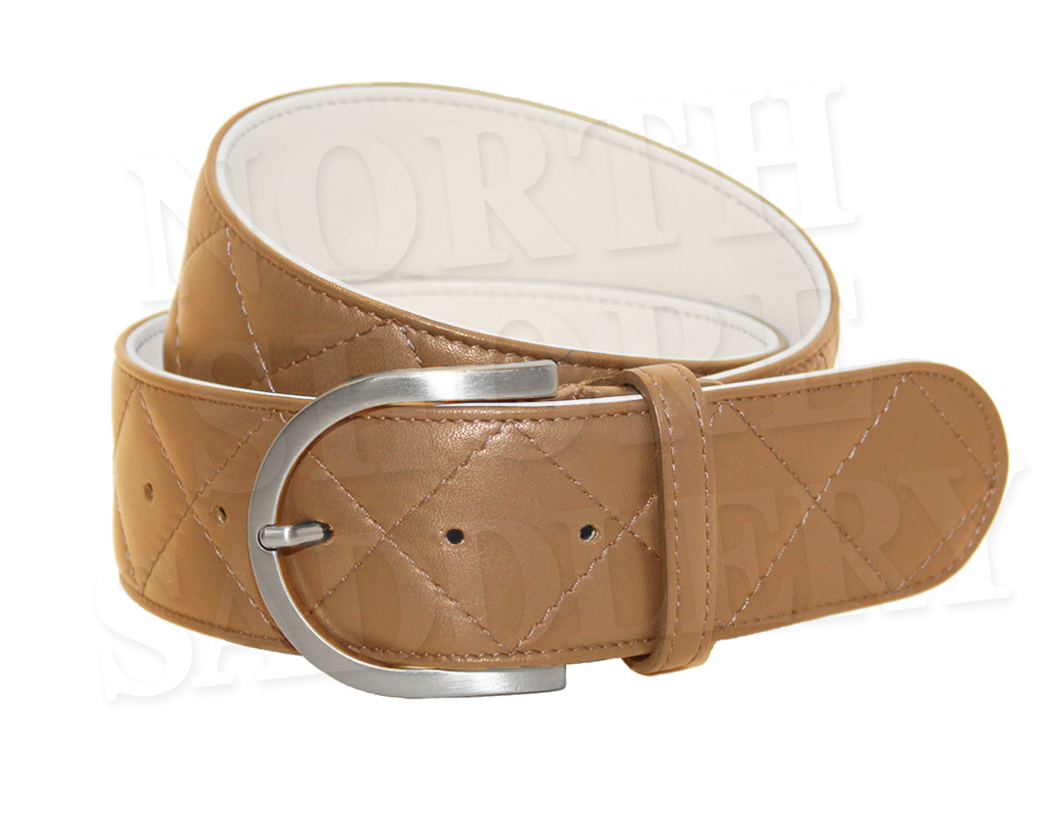 Tailored Sportsman Quilted Two-Tone Leather C Belt - North Shore Saddlery