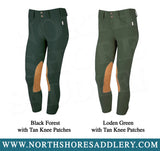 Tailored Sportsman Mid Rise Front Zip Breech with Tan Knee Patches - North Shore Saddlery
