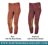 Tailored Sportsman Mid Rise Front Zip Breech with Tan Knee Patches