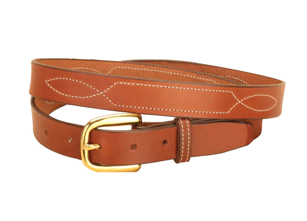 "Tory Leather 1"" Stitched Pattern Leather Belt"