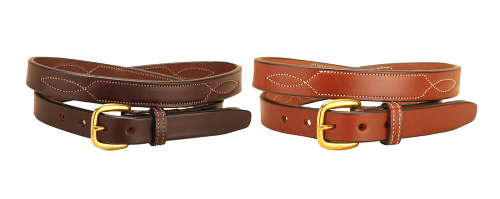 "Tory Leather 3/4"" Stitched Pattern Leather Belt"
