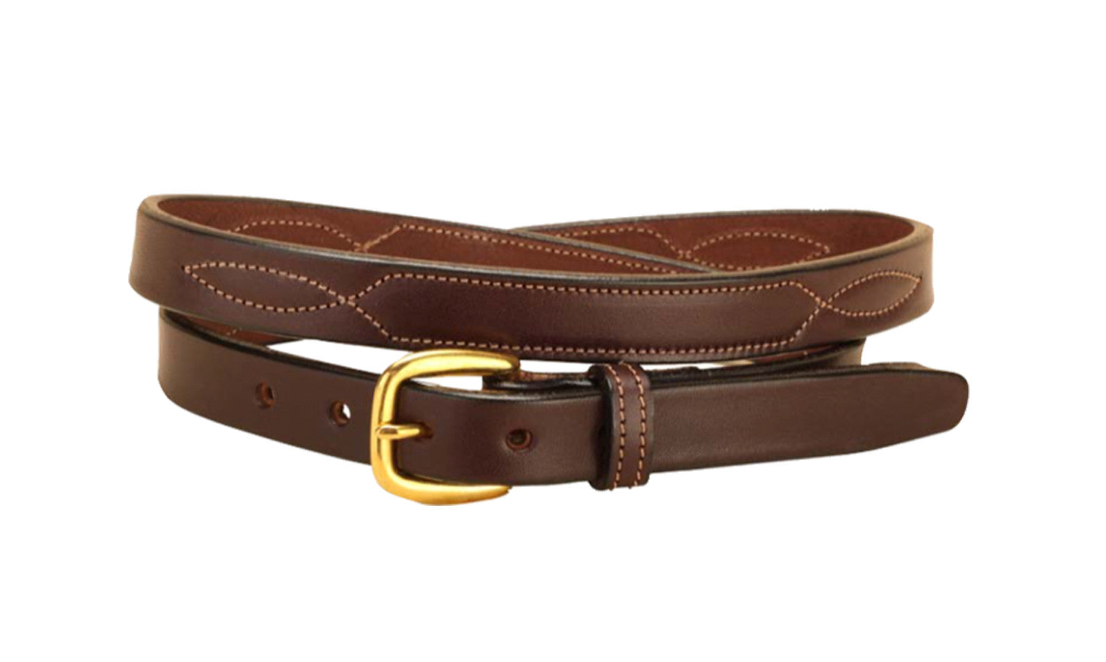 "Tory Leather 3/4"" Stitched Pattern Leather Belt - North Shore Saddlery"