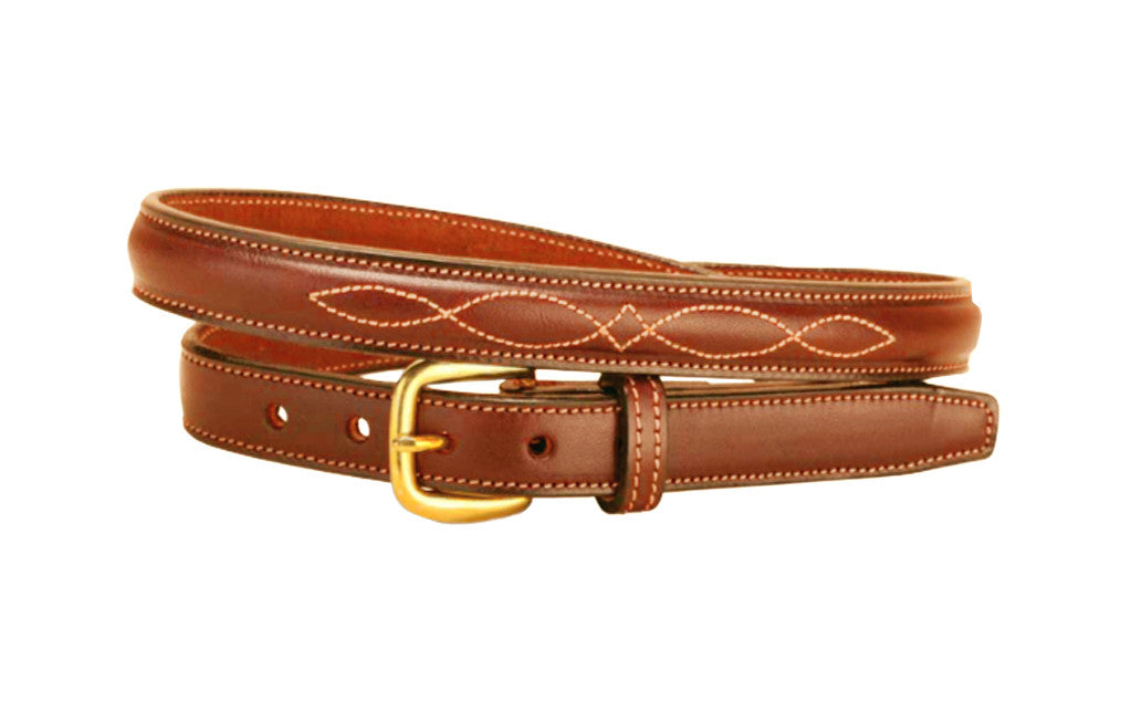 "Tory Leather 3/4"" Fancy Stitched Raised Leather Belt"