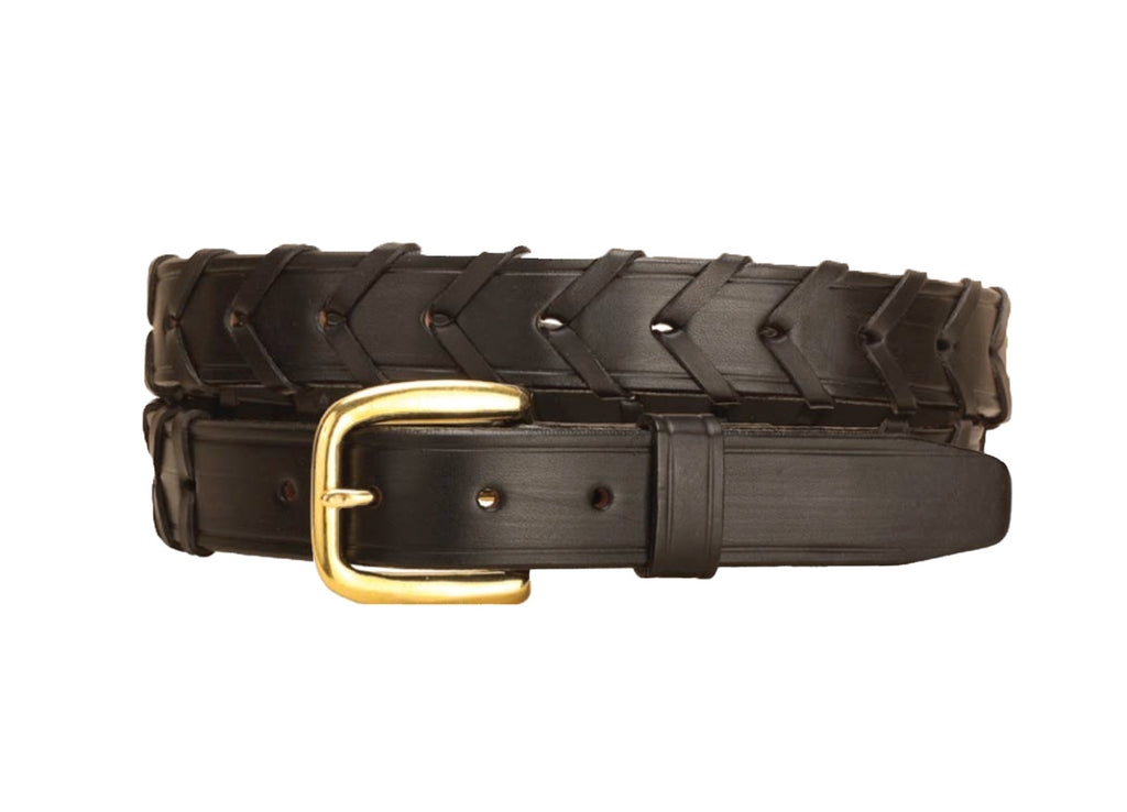 "Tory Leather 1 1/4"" Laced Leather Belt"