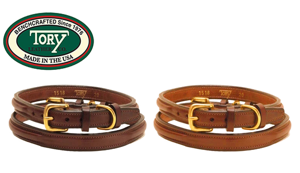 "Tory Leather 5/8"" Raised Leather Deluxe Dog Collar"