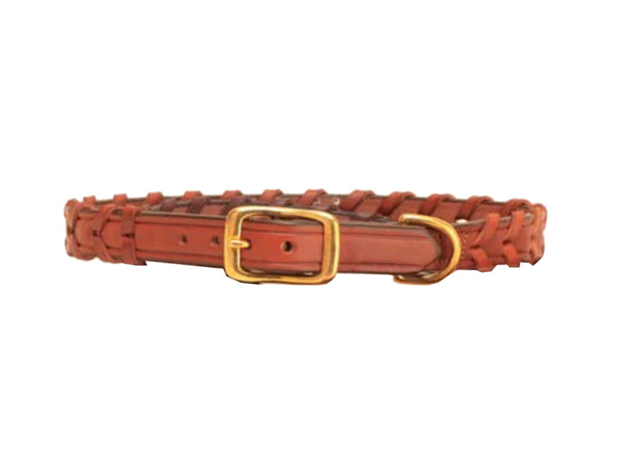 Tory Leather Dog Collar Laced Leather - North Shore Saddlery