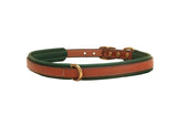 Tory Leather Narrow Padded Dog Collar - Oakbark/Green