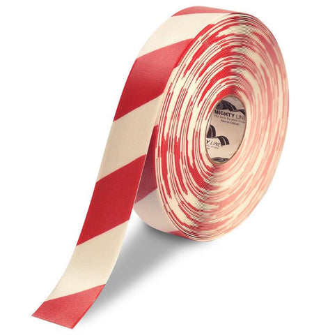2 White Floor Tape With Red Diagonals - Safety Product