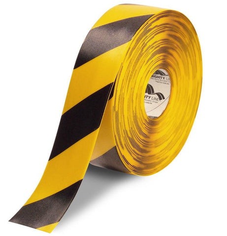 3 Yellow Safety Floor Tape With Black Diagonals - 100 Roll Product