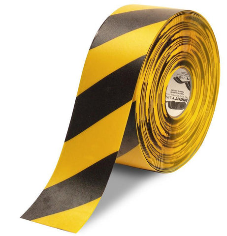 4 Yellow Floor Tape With Black Diagonals - 100 Roll Product