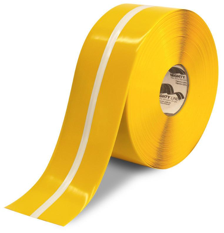 4 Yellow Mightyglow With Luminescent Center Line Safety Floor Tape- 100 Roll Product