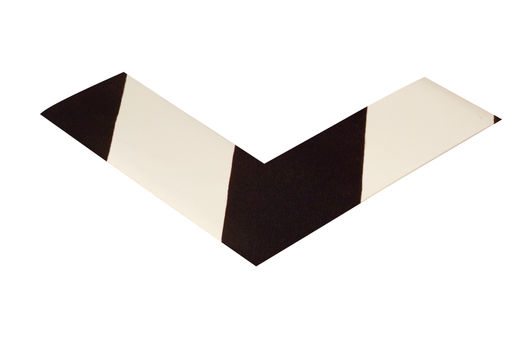 "2"" Wide Solid White Angle With Black Chevrons - Pack of 25"
