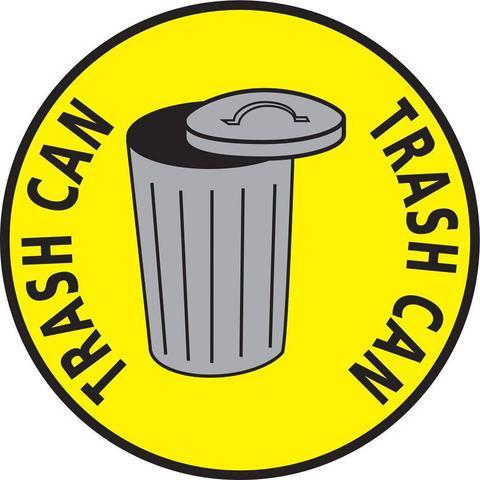 Trash Can Floor Sign Yellow 24 - 1 Product