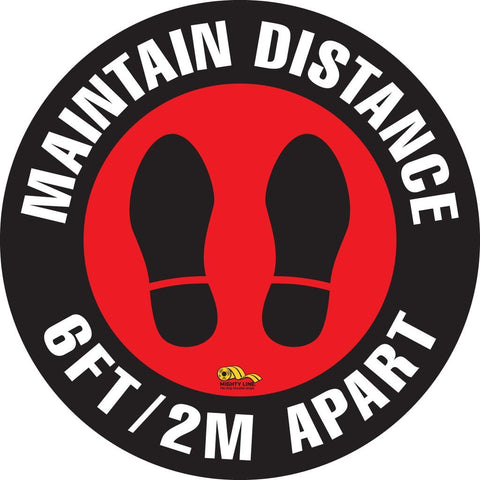 Maintain Distance 6 Feet / 2M Apart Floor Sign Safety