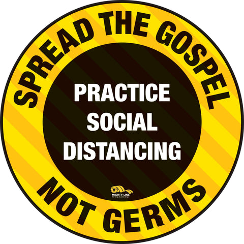Spread Gospel Not Germs Floor Sign - Covid-19 Marking Heavy Duty Safety