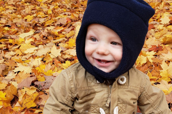 playing in the leaves baby