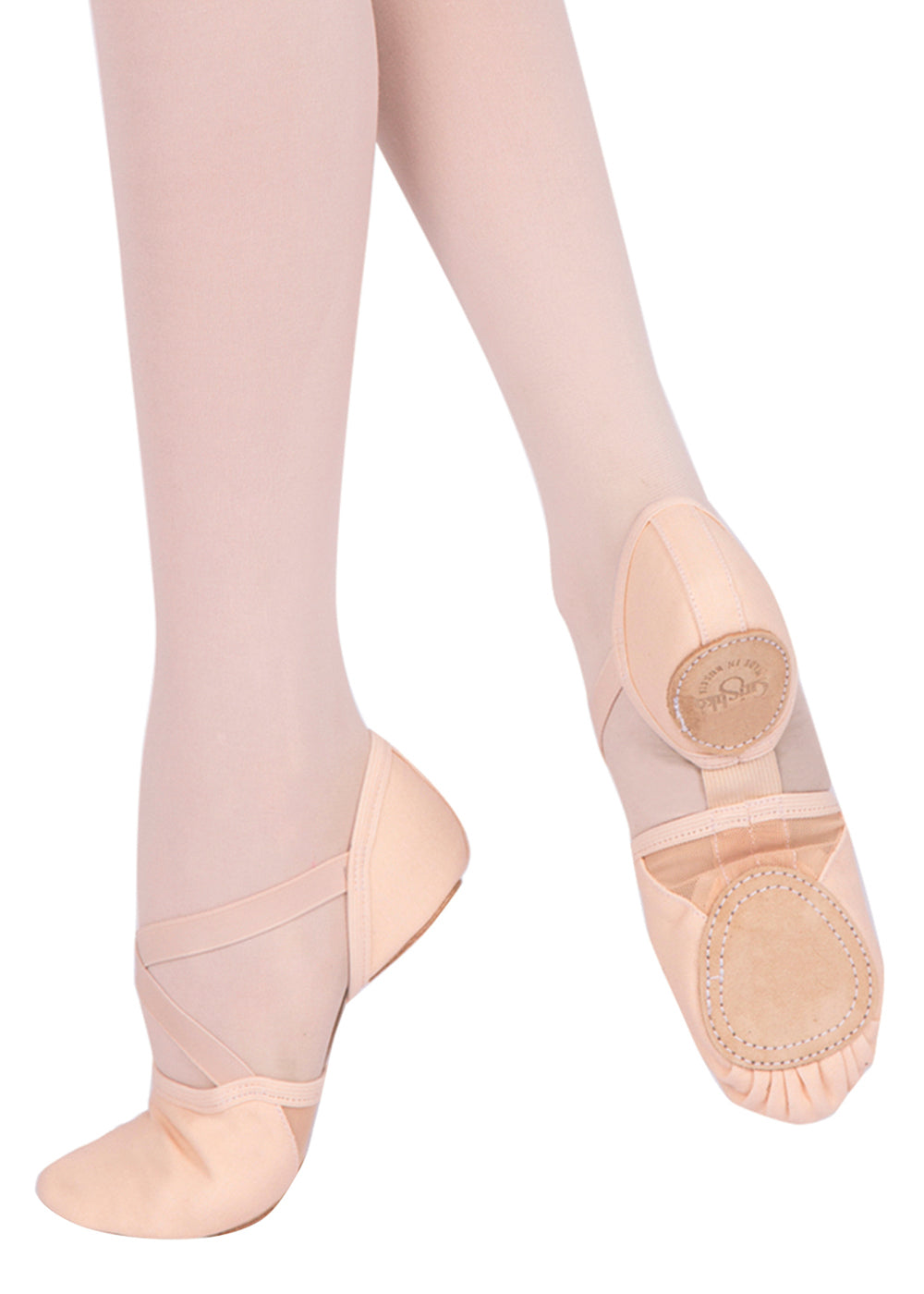 Model 10 X-Strap Canvas Split Sole Ballet Slipper