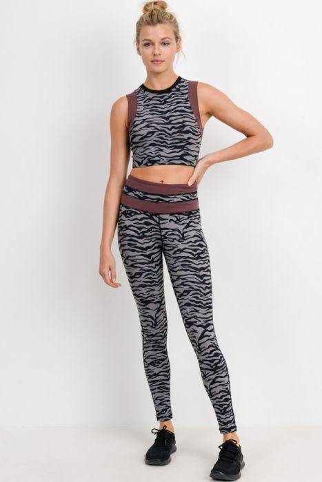 Grey Tiger Print Highwaist Leggings with Striped Band - Adult
