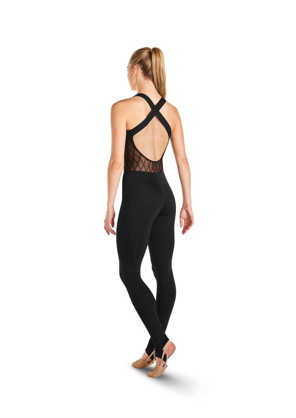 Unitard with Diamond Flock Mesh Accents - Adult
