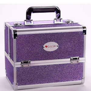 Sparkly Purple Makeup Case with Mirror