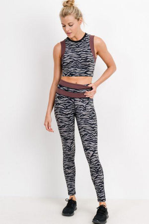 Grey Tiger Print Crop Top with Wraparound Accent - Adult