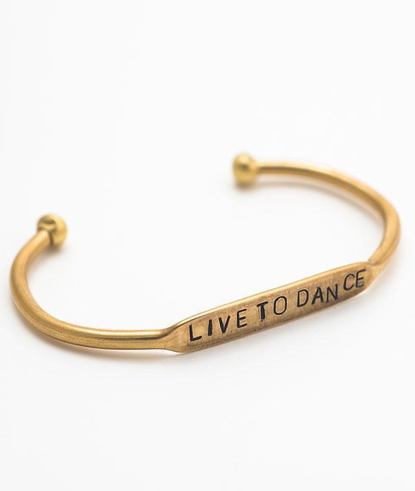 Live To Dance Gold Cuff Bracelet