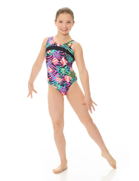 Printed Leotard with Contrast Stripe - Child