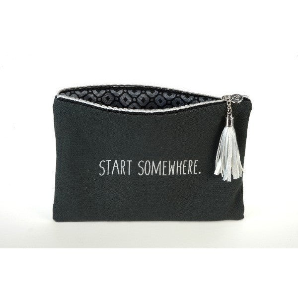 Start Somewhere Quote Canvas Cosmetic Bag