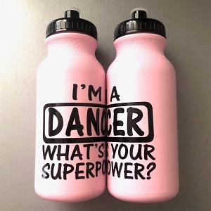 Dancer Superpower Water Bottle - Light Pink