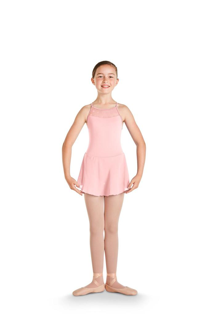Polka Dot Mesh Skirted Leotard Dress - Child