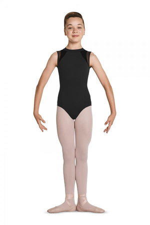 High Neck Velvet Panel Zip Back Leotard - Child