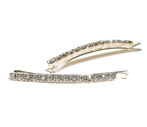 Pair of Rhinestone Bobby Pins - Clear