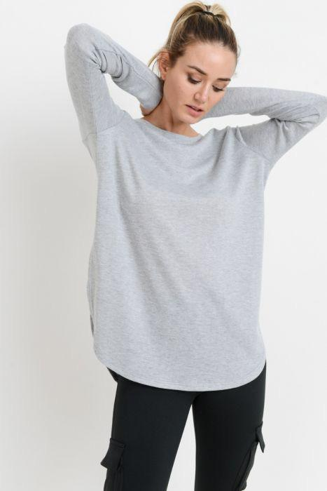 Long Sleeve Flow Top with Side Slits - Adult