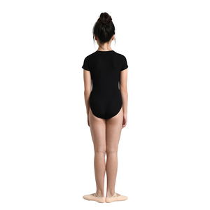Ribbed V Neck Cap Sleeve Leotard - Child