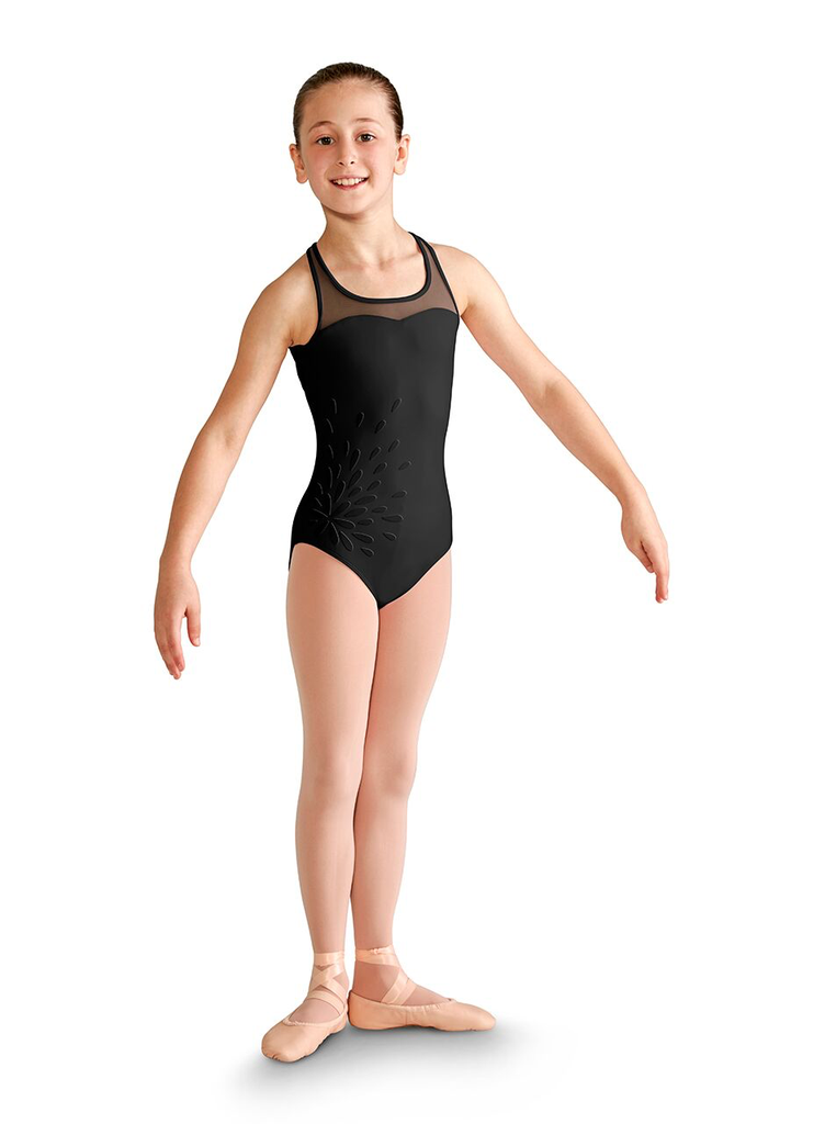 Floral Applique Cross Back Tank Leotard - Child