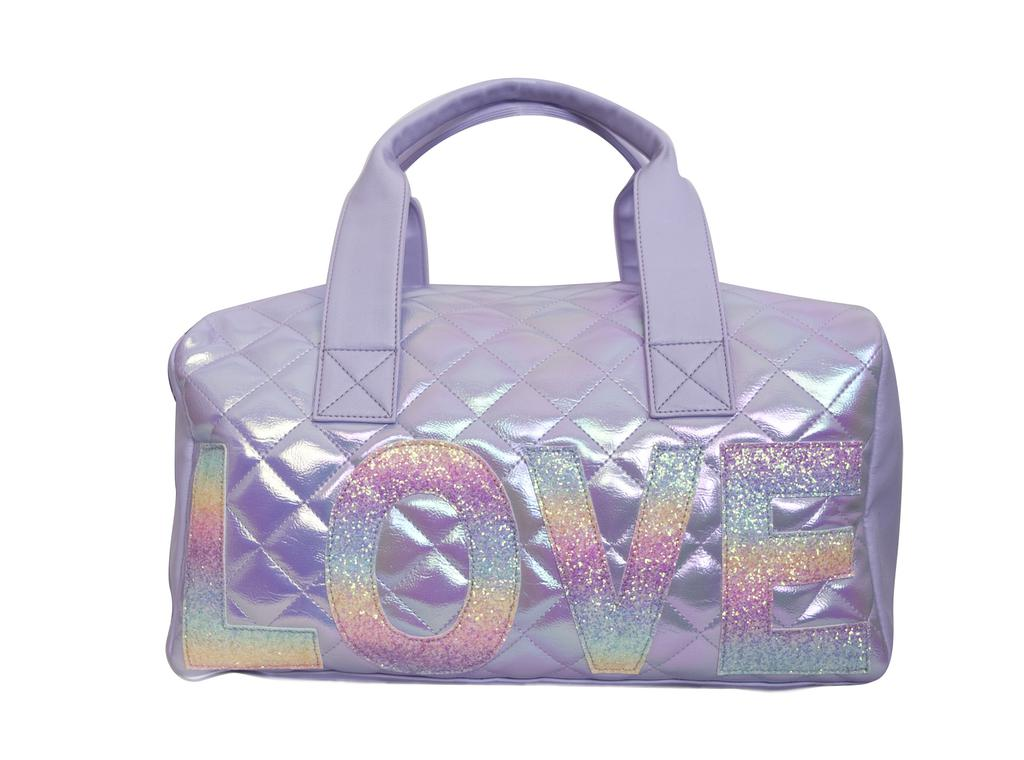 Metallic Quilted Love Duffle