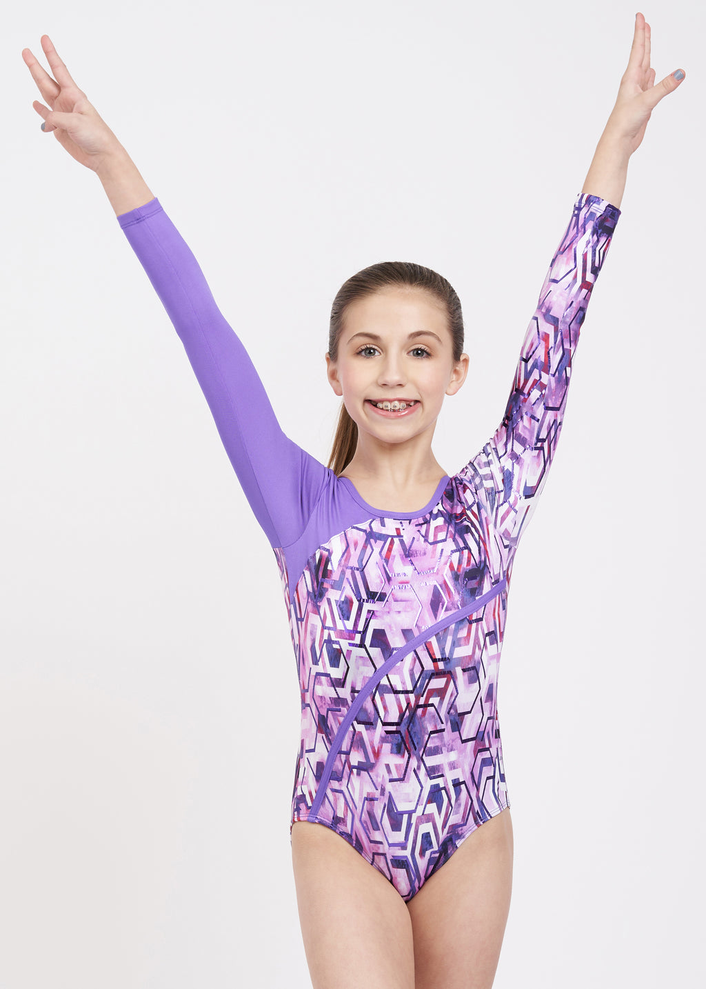 Techno Splash Long Sleeve Leotard - Child