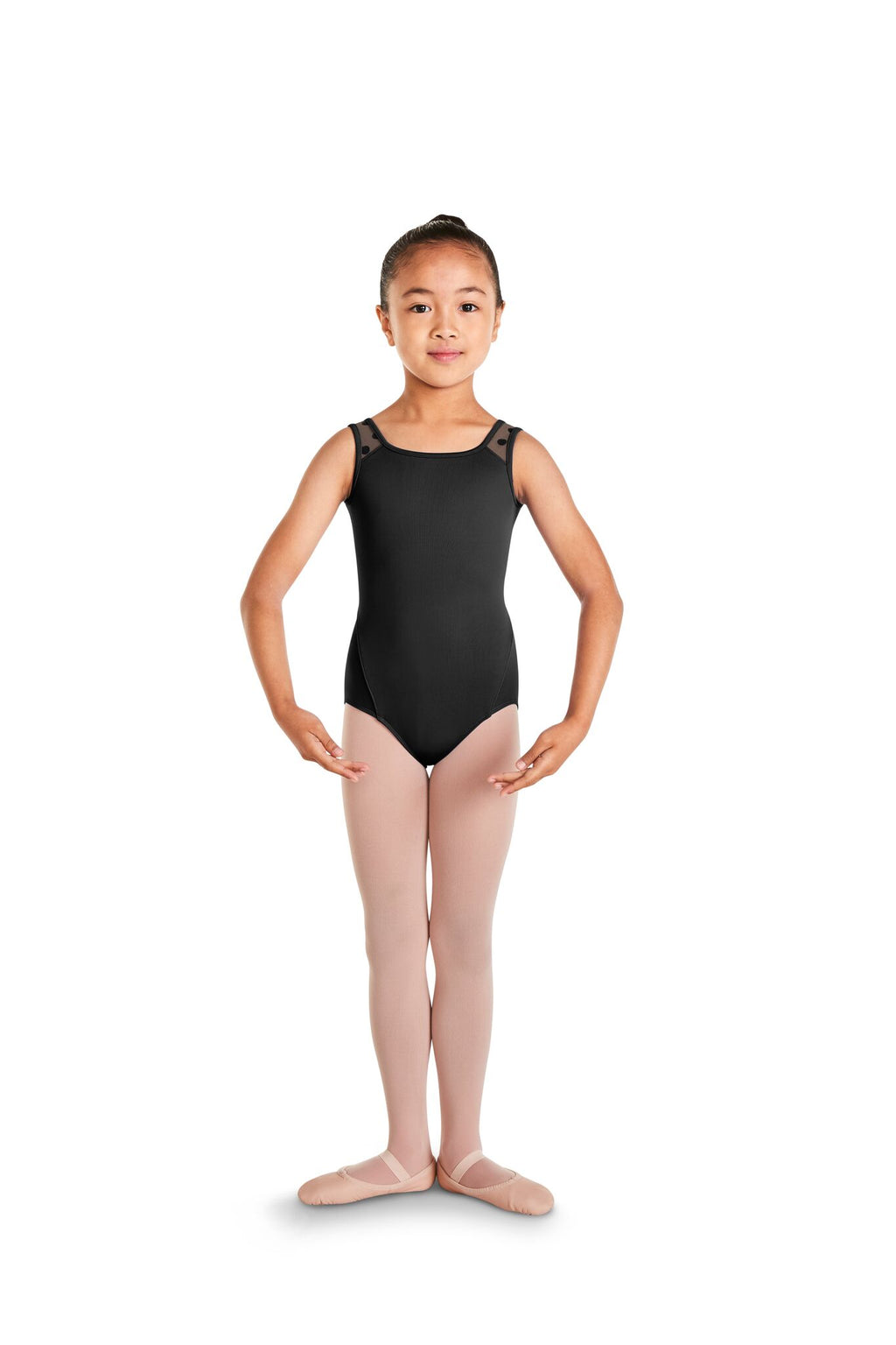 Polka Dot Mesh Back Tank Leotard - Child