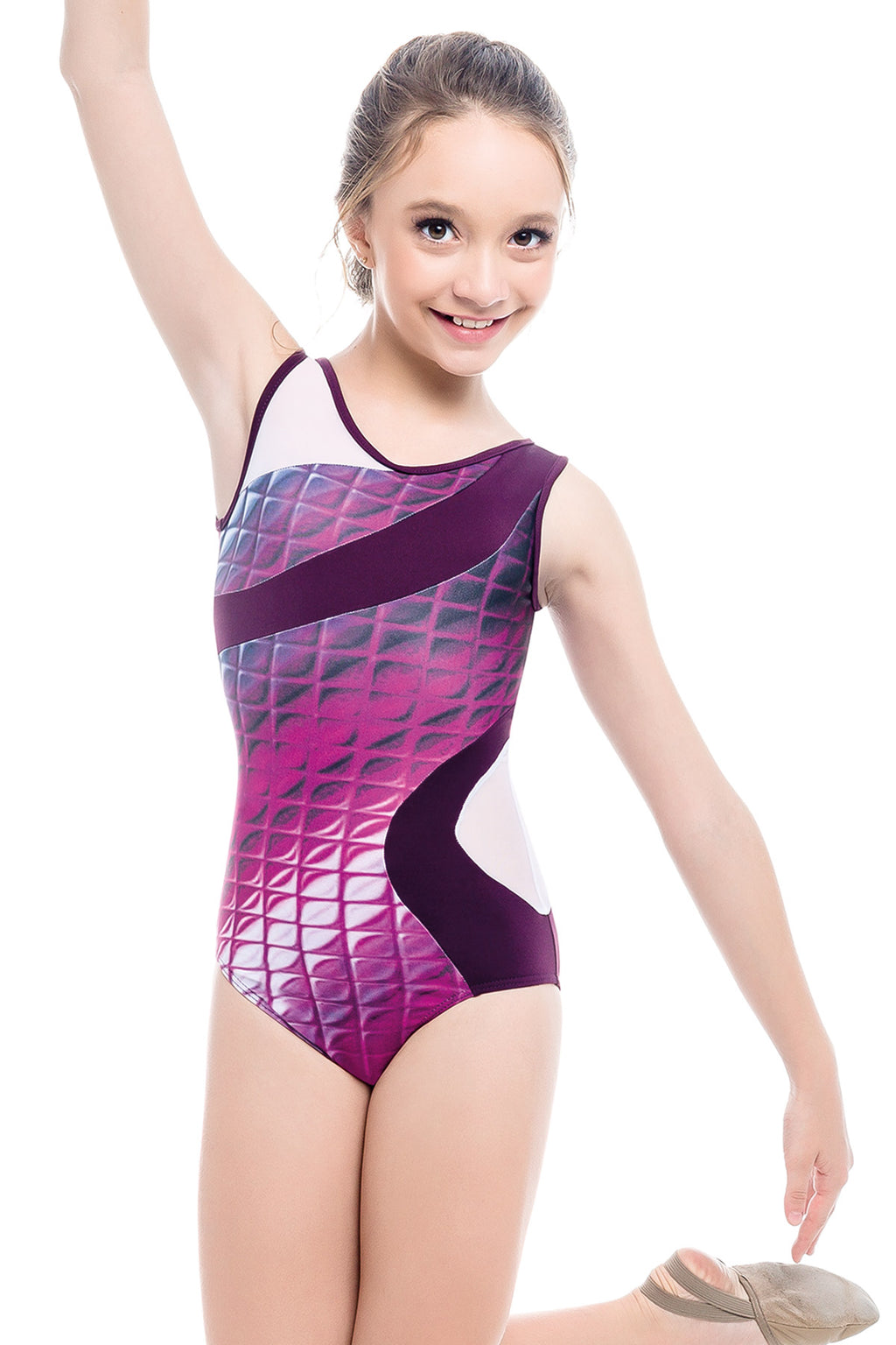 Gymnastic Leotard with Mesh Cutouts - Child