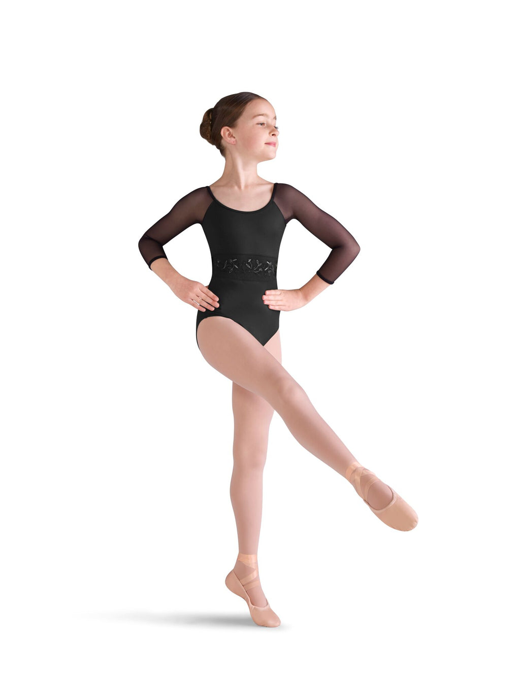 Embroidered Waist 3/4 Sleeve Leotard - Child
