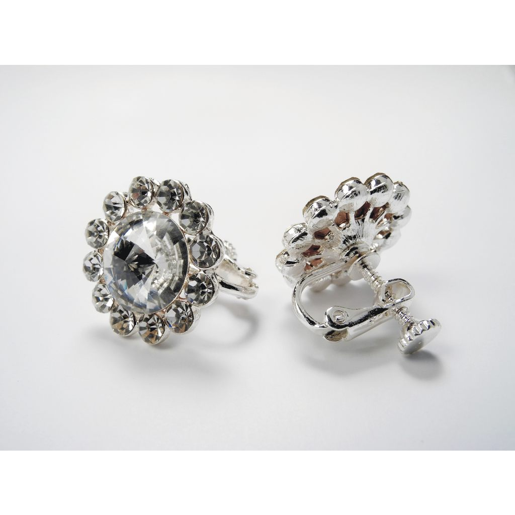 Accessories - Flower Earrings - Clip On - Clear