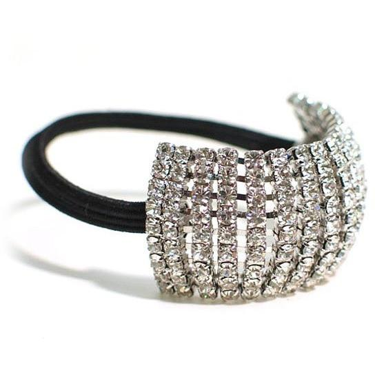 Accessories - Nine Row Clear Rhinestone Ponytail Holder