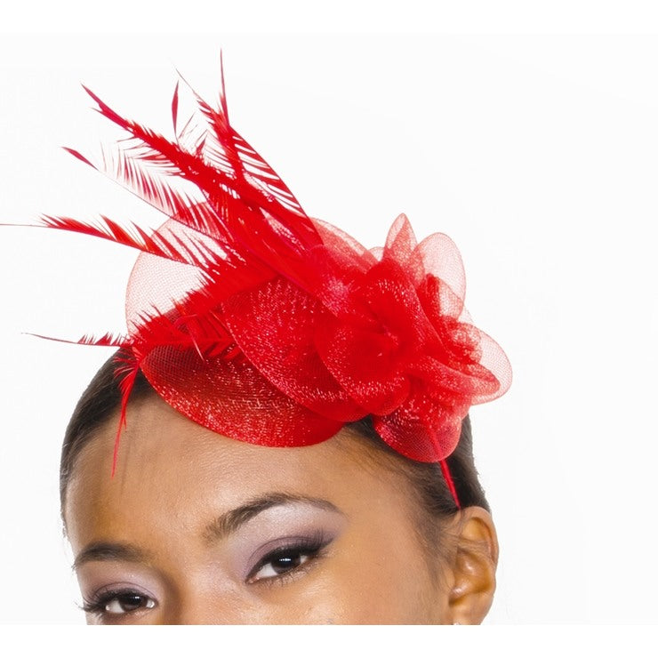 Accessories - Red Feather Corsage Headband