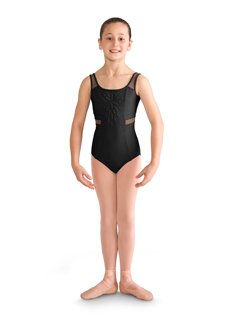 Floral Applique Front Mesh Panel Tank Leotard - Child