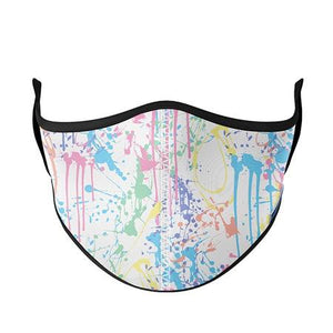 White with Pastel Splatter Face Cover - Child 8-Adult Small
